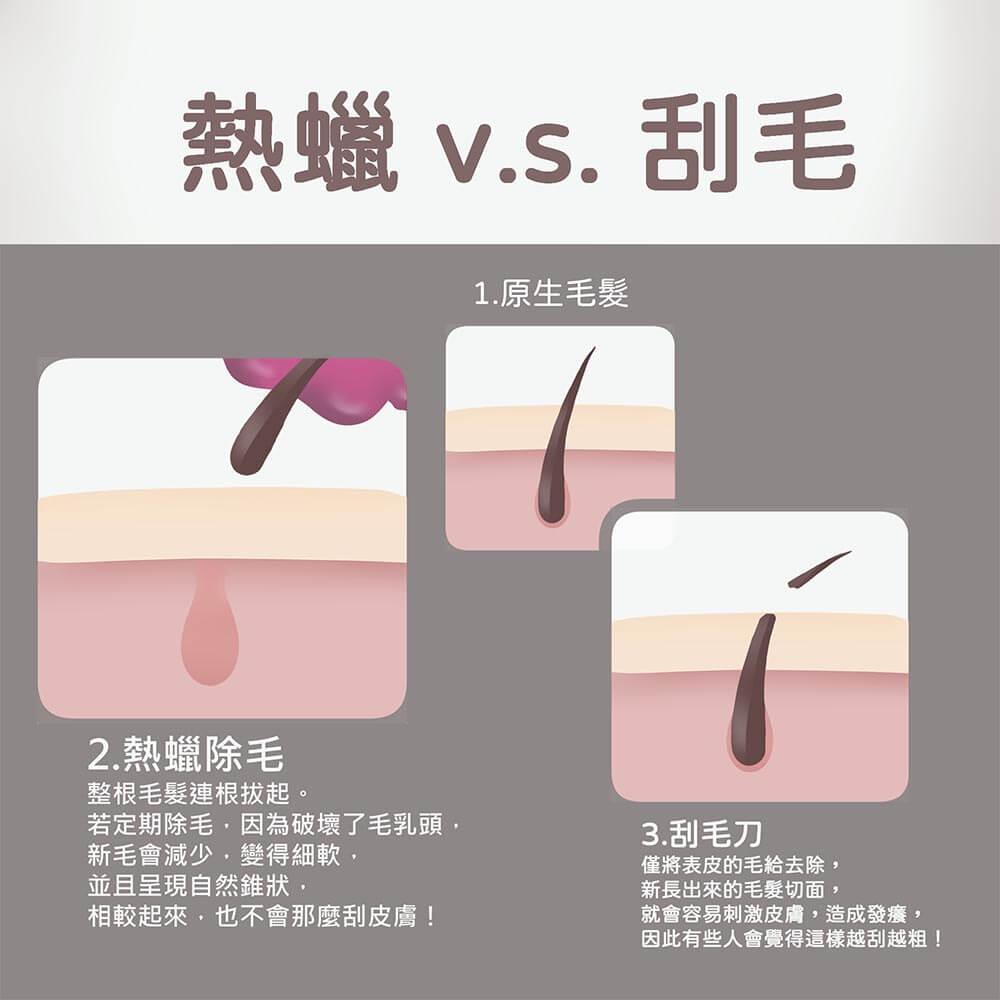 熱蠟和刮毛比較圖